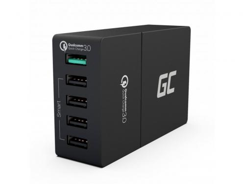 Încărcător universal Green Cell ® cu funcție de încărcare rapidă, 5 porturi USB, QC 3.0