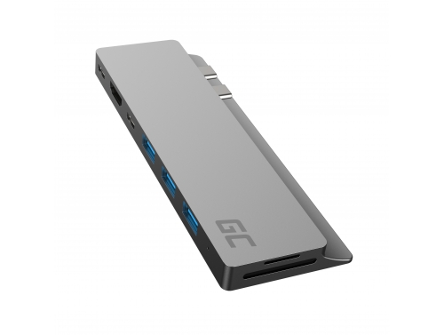 Adaptor HUB Green Cell GC Connect60 8in1 (Thunderbolt 3, USB-C, HDMI, 3x USB 3.0, SD, microSD) pentru MacBook Pro 13 / 15