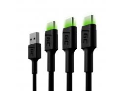 Set 3x Green Cell GC Ray USB-C 200 cm cu iluminare din spate cu LED verde, încărcare rapidă Ultra Charge, QC 3.0