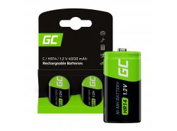 Green Cell Batterie Akku 2x C R14 HR14 Ni-MH 1,2 V 4000 mAh