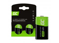 Green Cell Batterie Akku 2x D R20 HR20 Ni-MH 1,2 V 8000 mAh