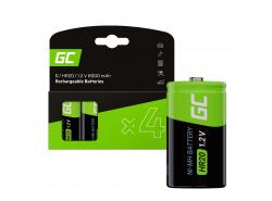 Green Cell Batterie Akku 4x D R20 HR20 Ni-MH 1,2 V 8000 mAh