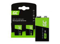 Green Cell Batterie Akku 2x 9V HF9 Ni-MH 250mAh
