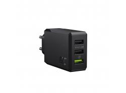 Încărcător de rețea GC ChargeSource 3 3xUSB 30W cu tehnologie de încărcare rapidă Ultra Charge și Smart Charge
