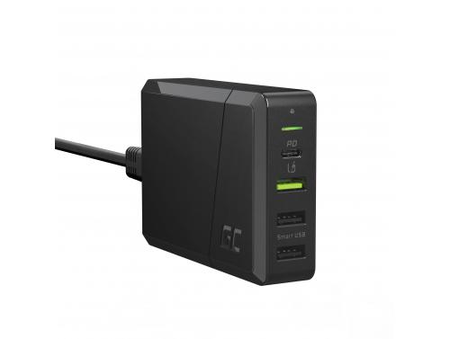 Sursa de alimentare a Green Cell Încărcător cu 4 porturi 75W cu USB-C PD pentru încărcare Ultrabooks și tehnologie Ultra Charge