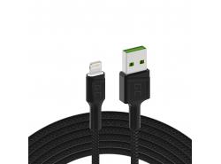 Cablu Green Cell Ray USB-A - LED alb de fulgere LED de 120 cm, cu suport pentru încărcare rapidă de 2,4A Apple