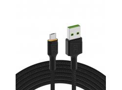Kabel Green Cell Ray USB-A - microUSB orange LED 120cm mit Unterstützung für Ultra Charge QC3.0-Schnellladung