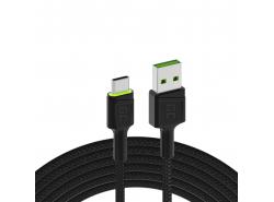 Cablul Green Cell Ray USB-A - USB-C LED verde 120cm cu suport pentru încărcare rapidă Ultra Charge QC3.0